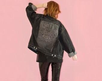 Guns n Roses Jacket Signed 90s Vintage Unisex Mens Womens L Oversized Black Faded Denim