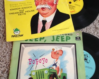 Two Peter Pan Records Captain Kangaroo and Popeye