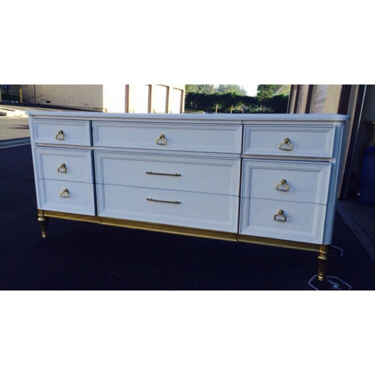 mid century modern gold and white vintage dresser. Black Bedroom Furniture Sets. Home Design Ideas