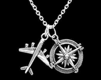 Best Friend Gift, Airplane Compass Long Distance Necklace, Travel Best Friends Nautical, Sister Mother Daughter Partners In Crime Necklace