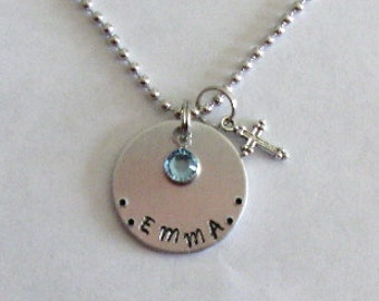 Personalized cross birthstone necklace Christening gift hand stamped first communion custom confirmation silver tone godparent gift Baptism