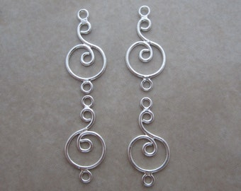 4 sterling silver swirl in circle link connectors