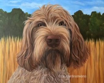 Custom Pet Portrait Painting on Canvas Dog Art