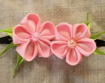 pink hair pins, flower, kanzashi