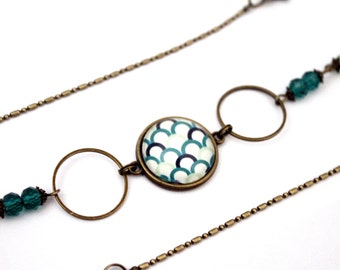 Bohemian headband with cabochon 'waves Japanese emeralds' bronze brass vintage