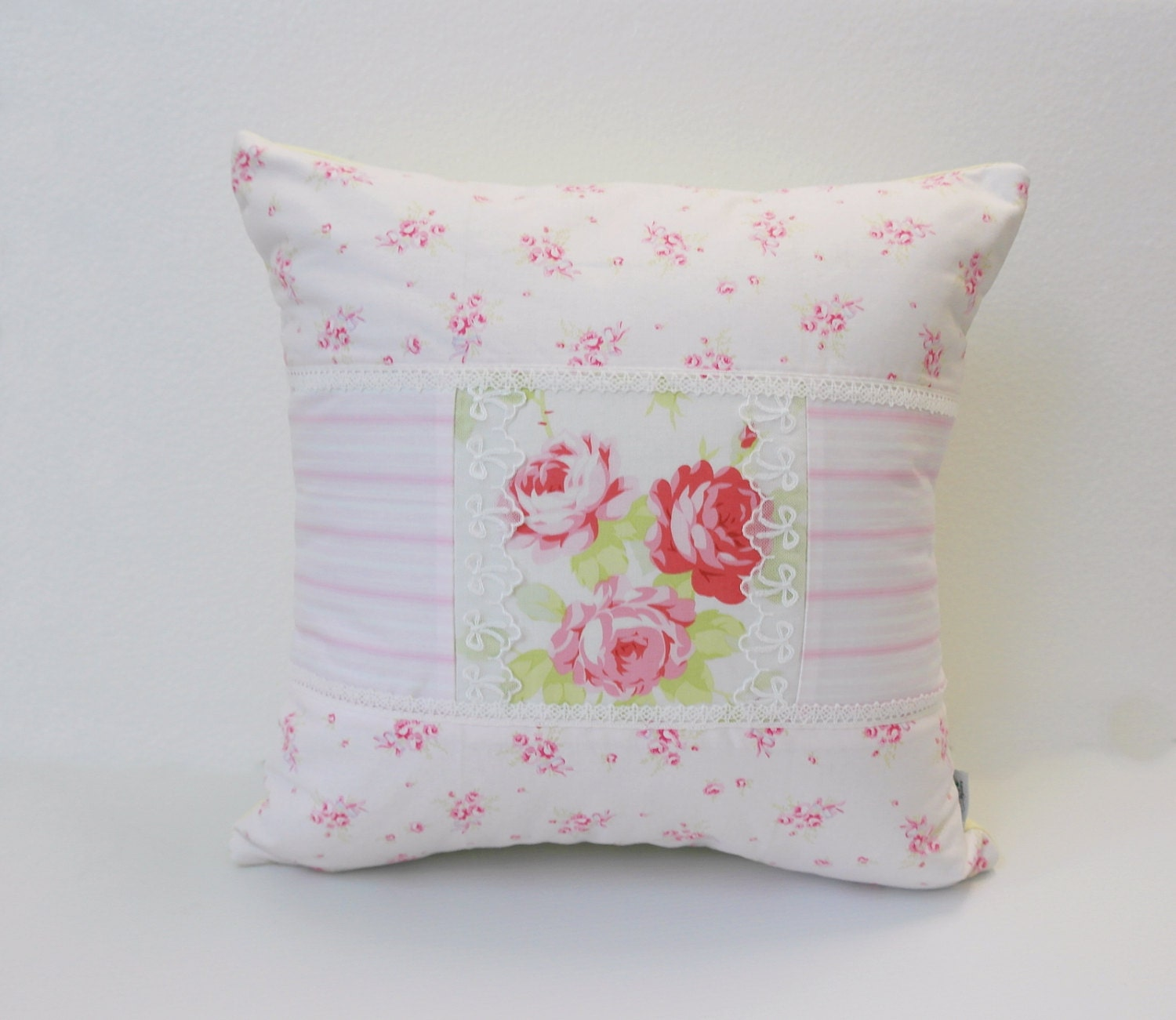 Patchwork Pillow Cover Shabby Chic Pillow Cover Quilted
