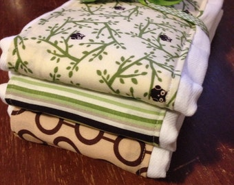 SALE Burp Cloths owls, neutral, brown and green, baby shower gift