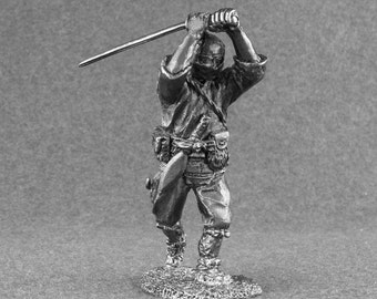Action Figure Soldier Japanese Warrior Ninja Attack Unpainted 54mm Statuette 1/32 Scale Toys Tin Metal Miniature Statuette