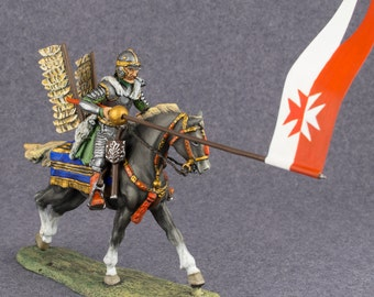 Handmade Toy Soldier Polish Winged Hussar Cavalry2 1/4 Scale Hand Painted Soldiers Metal 54mm Antique Toy - Free Shipping