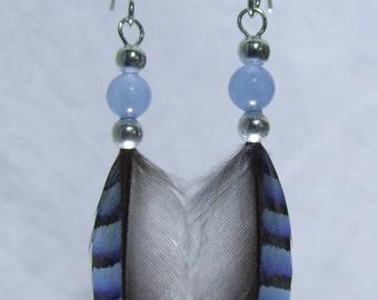 Boho Chic Earrings Blue Jay Feathers Blue Agate Beads Small Boho Chic Gift Boho Chic Jewelry Boho Chic Costume Blue Silver Feather Earrings