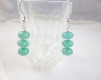 Aquamarine Earrings, Sterling Silver Dangle Earrings, Gemstone Earrings, Aquamarine Dangle Earrings, Blue Bead Earrings