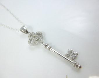 Sterling Silver Key Necklace, Cz Key, Key to my Heart Pendant, Key Pendant
