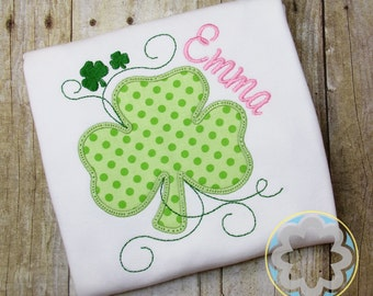 St Patricks Day - St Patty's Day - 4 Leaf Clover Monogrammed, Personalized Shirt
