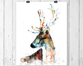 FALLOW DEER PRINT, deer painting, deer watercolour, deer print, elk art, elk painting, elk watercolour, elk print, woodland animal