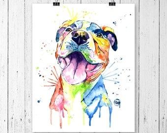 PIT BULL 1 PRINT, pit bull painting, pit bull art, pit bull watercolour, dog art, dog print, dog painting, pet art, pet portrait