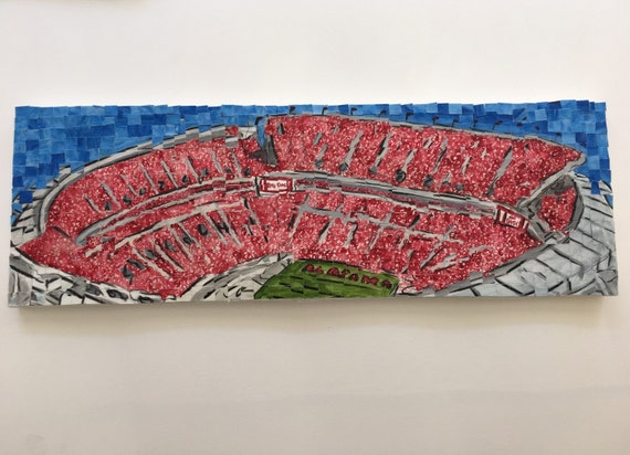 "University of Alabama- Bryant Denny Stadium- Architectural Art: 8""x24"" Original Painting"