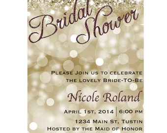 Printed Gold/Brown Glitter Bridal Shower Invitation