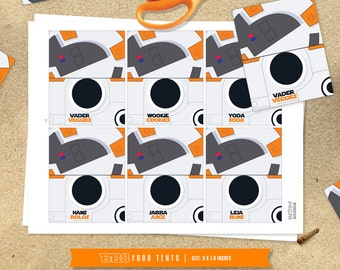 Personalized BB-8 food label tents (digital file)