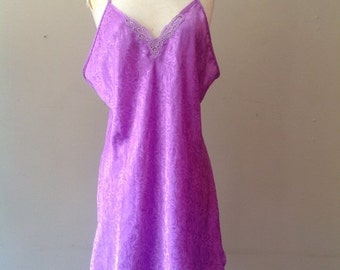 Sale / 40% Off / L / Satin Chemise Slip / Vintage Lingerie by Sears / Made in USA / Large / FREE Shipping