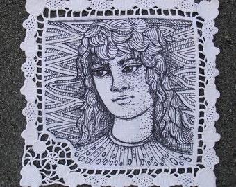 Original ink drawing on vintage cotton