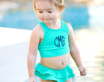 Girls Monogram Mint Swim Suit