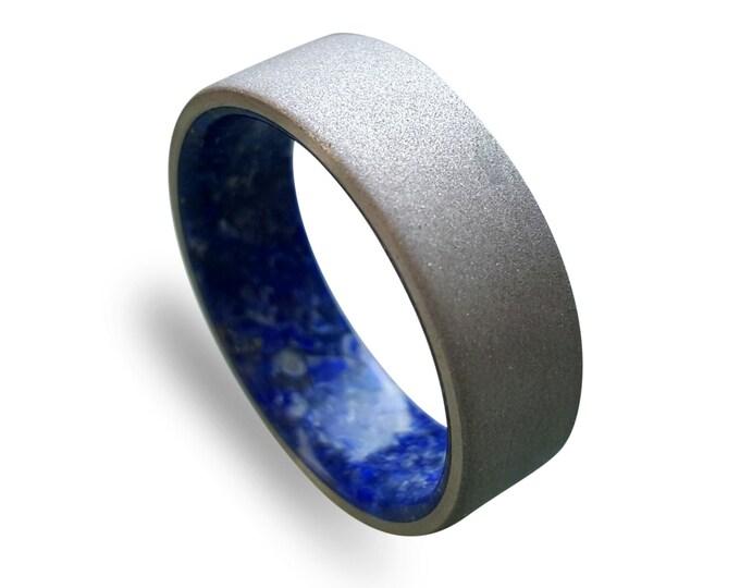 Sand Blasted Titanium Ring with Lapis Lazuli
