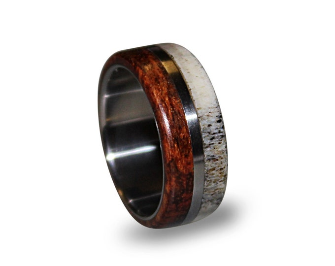 Titanium men ring with deer antler and snakewood inlay