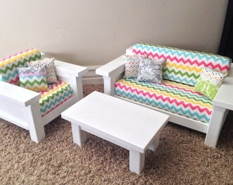Exceptional American Girl Doll Furniture 3 Pc Living Room Set Couch Part 9