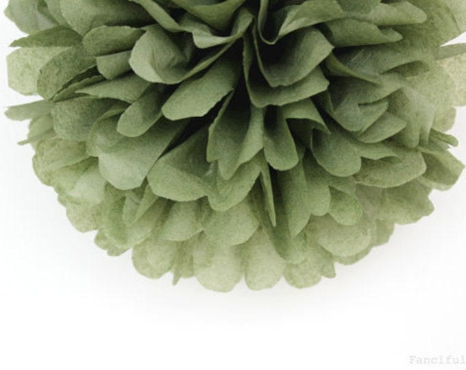 Olive Green Tissue Paper Pom, Olive Pom, Green Tissue Paper Pom Pom, Olive Paper Flower, Tissue Flower, Wedding and Birthday Party Decor