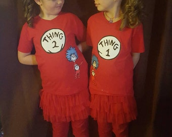 Thing 1 Thing 2 Shirt set! Birthday, everyday, costume, cake smash with coordinating bows!!