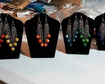Multi-Color Stone Earrings