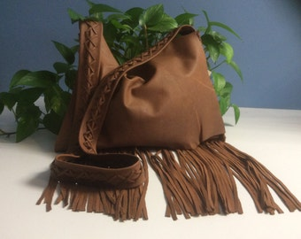 Messenger Bag with Long Fringe, Large Brown Bag, Cowhide Leather Purse with Fringe, Messenger Bag with Pockets and Wide Strap,Made in Canada