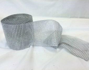 "10Yards Wedding Diamond Mesh Wrap Roll Rhinestone Crystal Looking Ribbon Trim 4.5"""