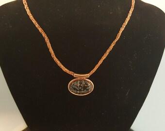 Snowflake Obsidian Viking Knit Necklace 2