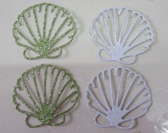 Set of seashells, green and white glitter