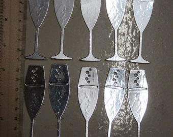 10 champagne flute die cuts