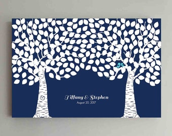 225 Guest Wedding Guest Book Wood Two Double Tree Wedding Guestbook Alternative Guestbook Poster Wedding Guestbook Poster - Navy