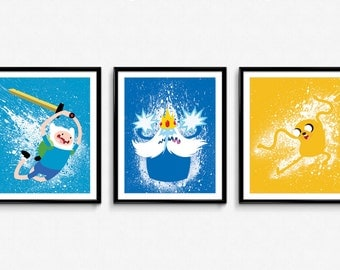 Adventure Time - Finn, Ice King, and Jake - Splatter Paint Poster Set - print, wall art, decor