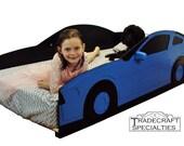 Sportscar twin kids bed frame - handcrafted - car themed children's bedroom furniture