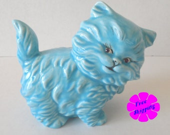 Vintage 1960's BLUE CERAMIC KITTEN Figurine