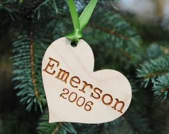 Personalized Christmas Ornament Heart Ornament with Name and Date Baby's First Christmas