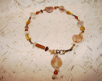 Vintage Beads On An Anklet With A Variety Of Beads Individually Wired