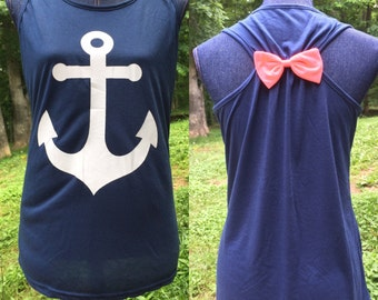 Anchor Tank Tops with Bow ~ Junior Sizes