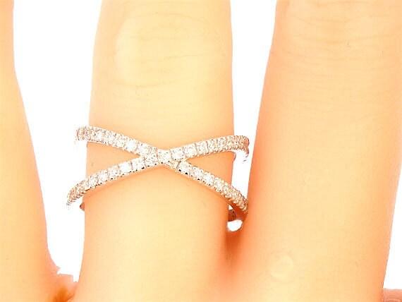 14k White Gold Diamond X Band Criss Cross Ring Wedding Ring