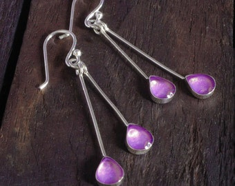 Silver Drop Earrings - Violet