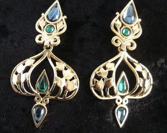 Drop flowers ornament earrings vintage gold-plated cocktail jewelry