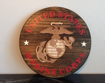 SALE 20% OFF USMC Marine Corps Military Rustic Wall Sign