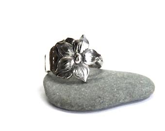 dogwood ring, flower ring, spoon ring, dogwood blossom
