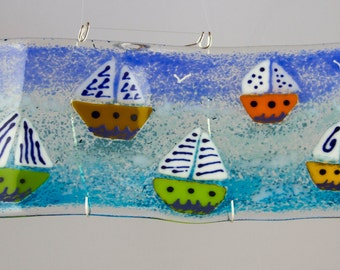 Fused Glass  Boat Curved Panel