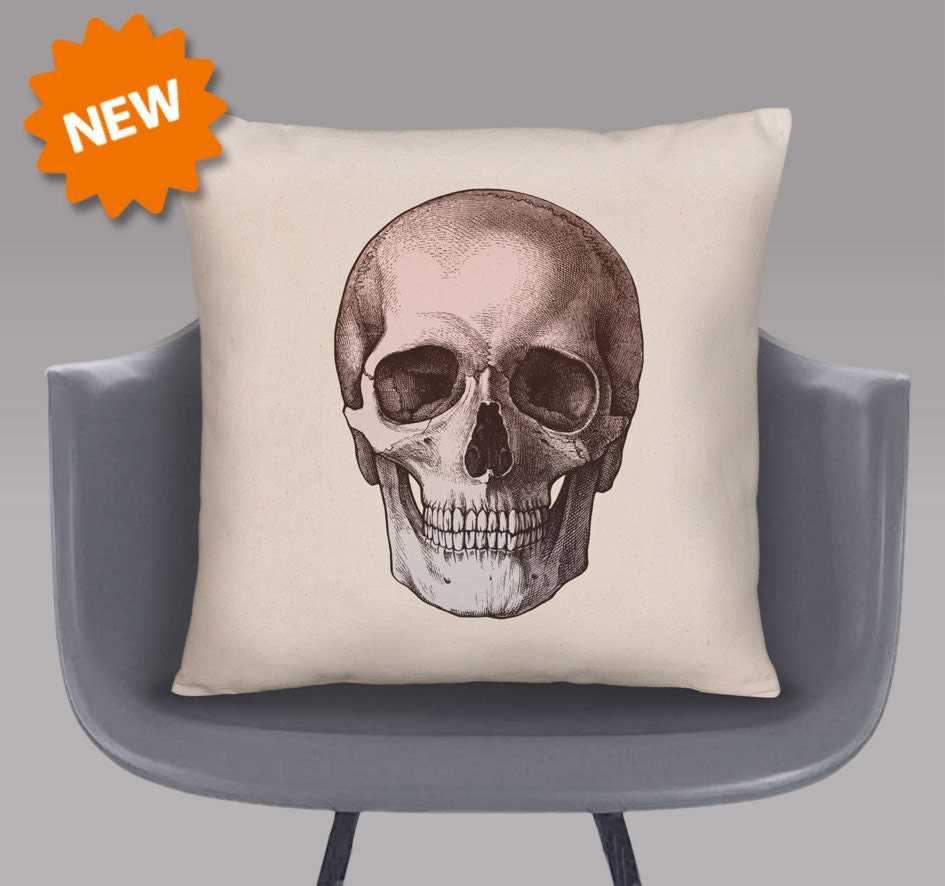 Skull Cushion Cover by TheCushionUnion on Etsy